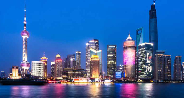 Pudong District landmarks at night