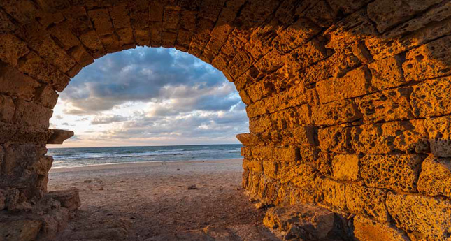 Caesarea aqueduct at sunset