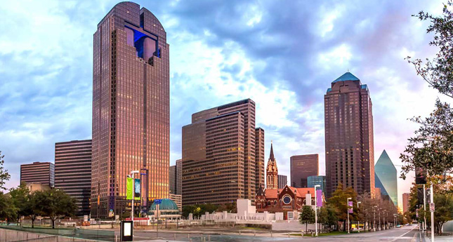 The Dallas Arts District spans 19 contiguous blocks in the downtown.