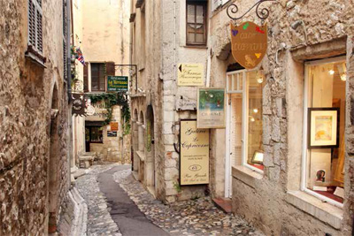 Explore the narrow streets of Saint-Paul-de-Vence, a beautiful medieval fortified village.