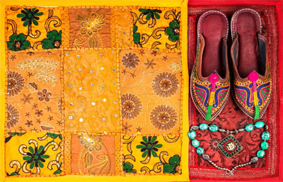 Brilliant textiles and jewelry are popular items sold at Jaipur markets.