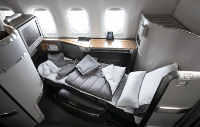 Boeing 777-300 Flagship First suite with Casper bedding