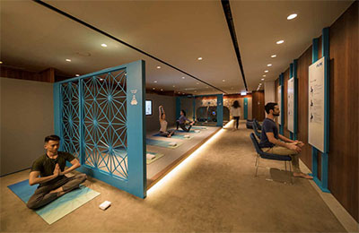 The Sanctuary in Cathay Pacific's Business Lounge at The Pier at Hong Kong International Airport