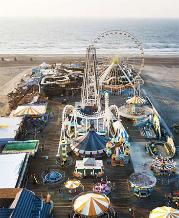 Aerial view of Morey's Piers and beachfront water parks complex in Wildwood, New Jersey