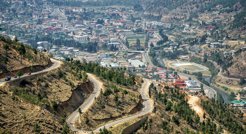 The hill road and aerial view of Thimphu
