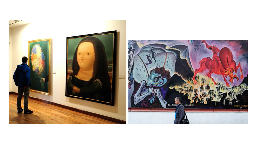 Museo Botero (left), and graffiti (right)