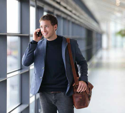 Business traveler arriving at the airport