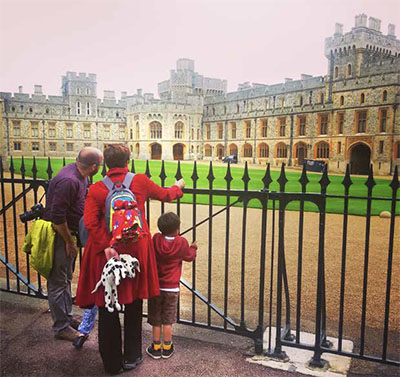 Family in front of Windsor Castle