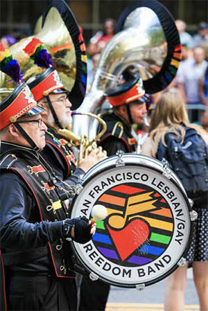 The San Francisco Lesbian/Gay Freedom Band performing in the San Francisco Gay Pride Parade