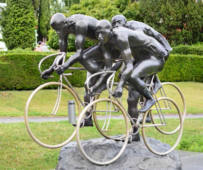 The Olympic Museum's cycling sculpture