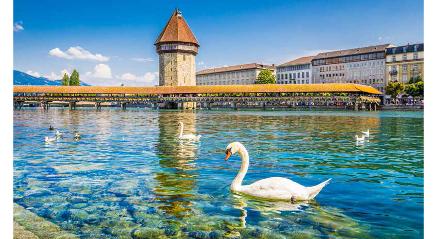 Historic town of Lucerne with its famous Kapellbrücke