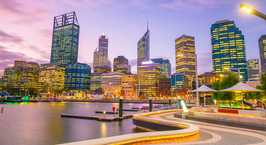 Perth CBD at twilight