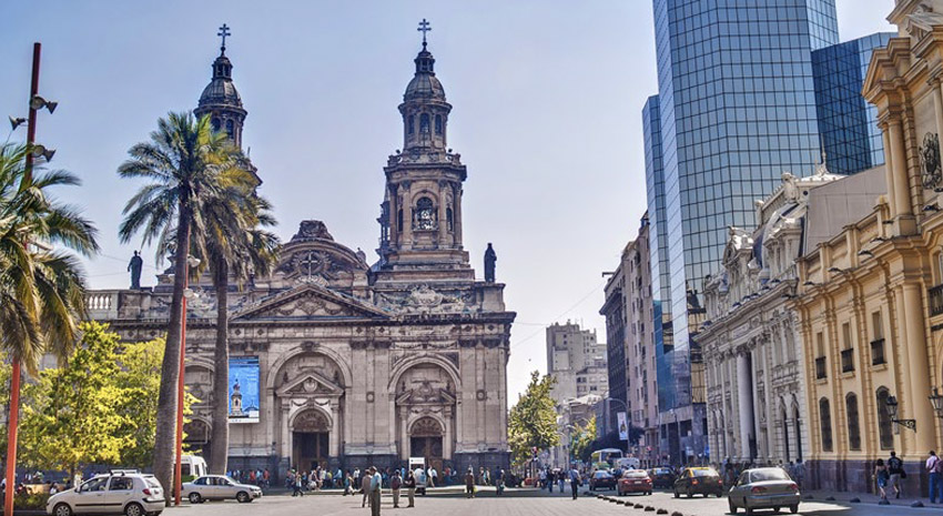 Metropolitan Cathedral of Santiago in the main square, Plaza de Armas