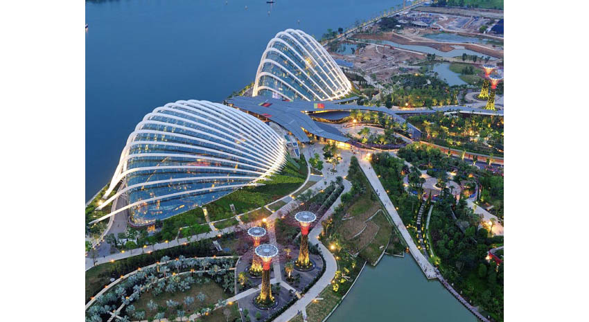 Aerial view of the Cloud Forest and Flower Dome conservatories at Gardens by the Bay