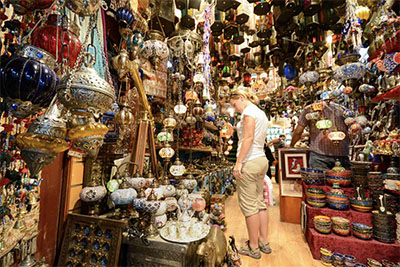 Arabian lamps for sale at a souk