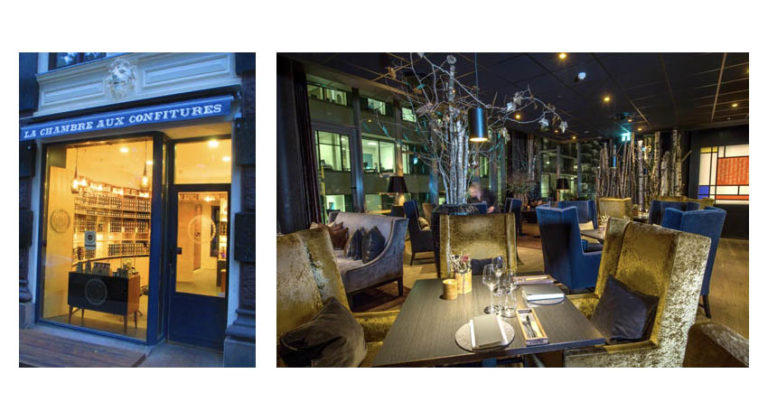 Typical Oslo window display at Le Chambre aux Confitures (left), and The Thief Hotel's Fru K restaurant (right)