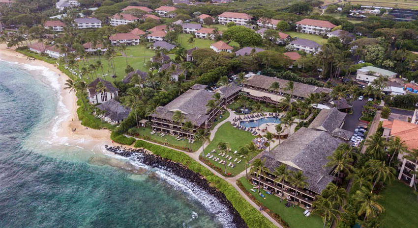 Resort aerial view © KO'A KEA HOTEL & RESORT AT PO'IPŪ BEACH
