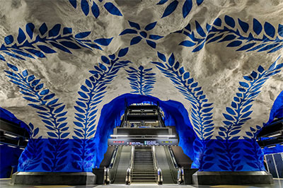 Stockholm Tunnel Rail art