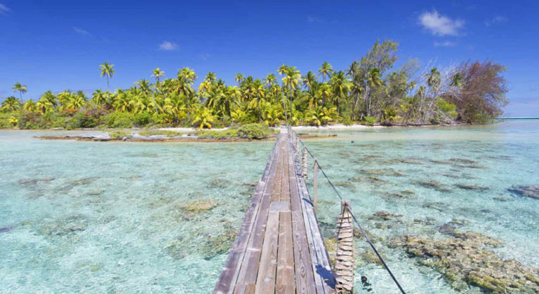 Footbridge across a lagoon at Tetamanu on Fakarava in the Tuamotu archipelago