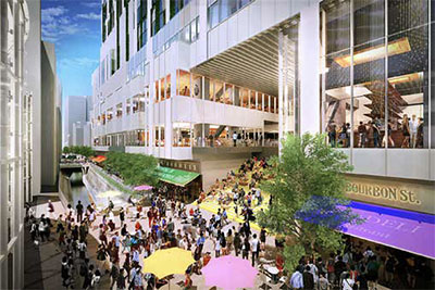 Artist's renderings of Shibuya Stream, a new tower block in the Shibuya Station South area
