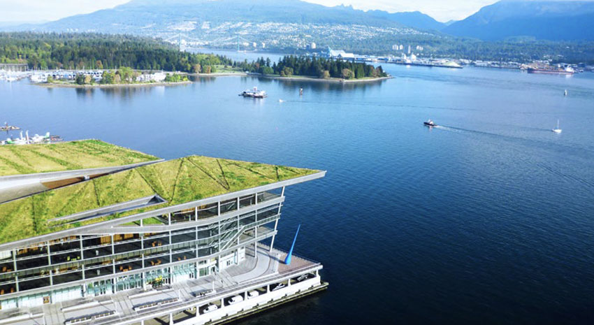 Convention Centre's living green roof with views of mountains and Vancouver Harbour