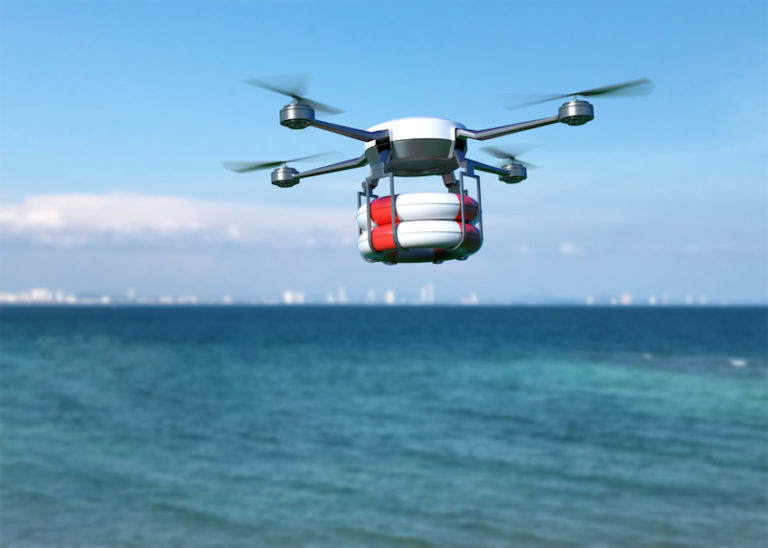 Rescue drone with lifebuoy