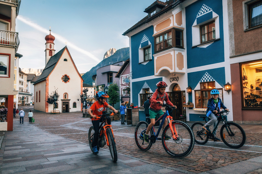 Bicycles on pedestrian area of Ortisei town in North of Italy.