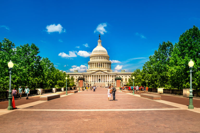 Tourists at the United States Capitol Building in Washington D.C.