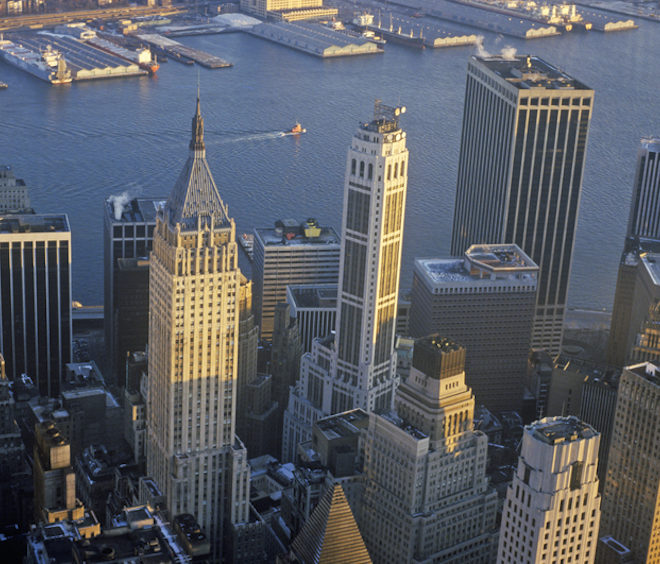 Aerial view of Wall Street, Financial District, New York City, NY